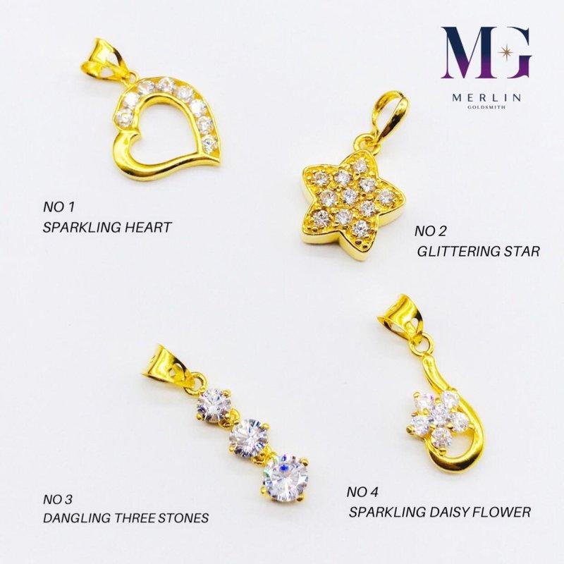 916 Gold Sparkling Pendant - Embellished with Zirconia