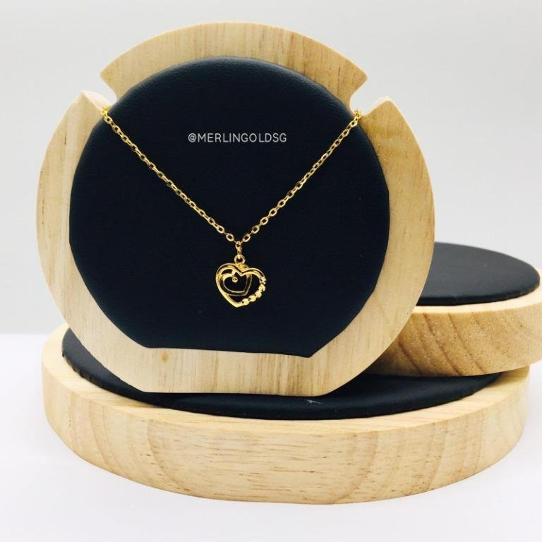 916 Gold Duo Heart Necklace