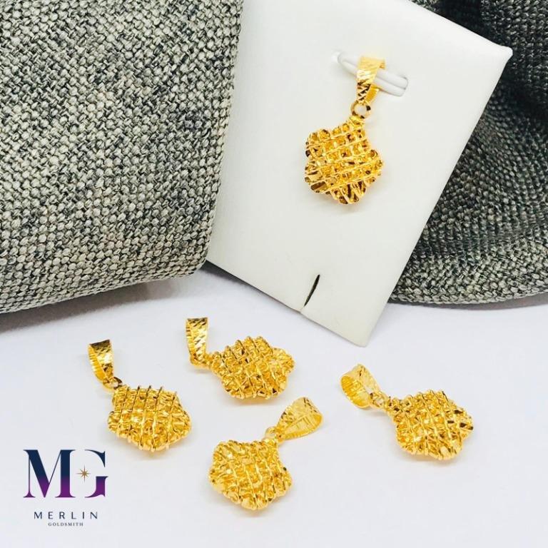 916 Gold Fancy Flower Wire Mesh Pendant