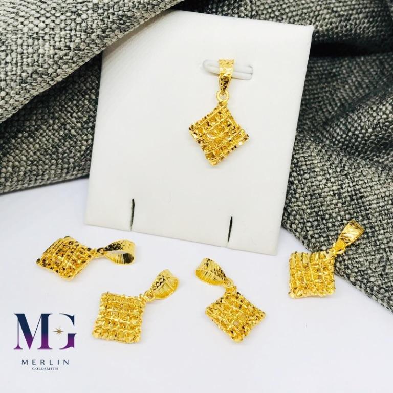 916 Gold Diamond Shaped Wire Mesh Pendant