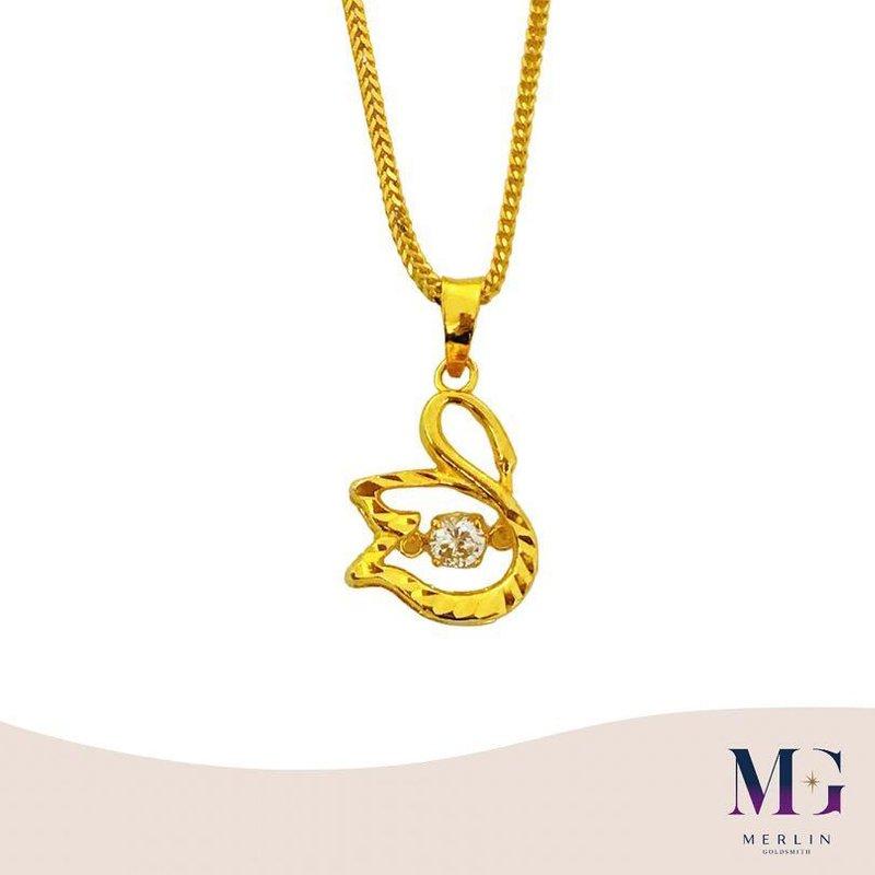 916 Gold Dancing Swan Pendant