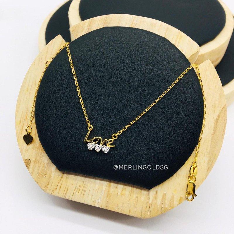 916 Gold Rhodium Heart (L.O.V.E) Necklace