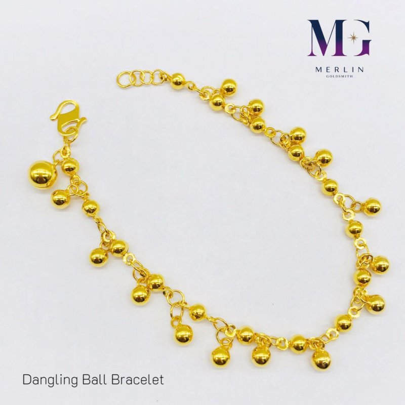 916 Gold Dangling Ball Bracelet with Bell
