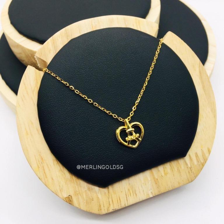 916 Gold Paris Heart Necklace