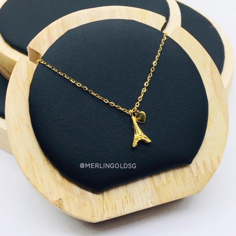 916 Gold Glamorously Eiffel Tower Heart Necklace