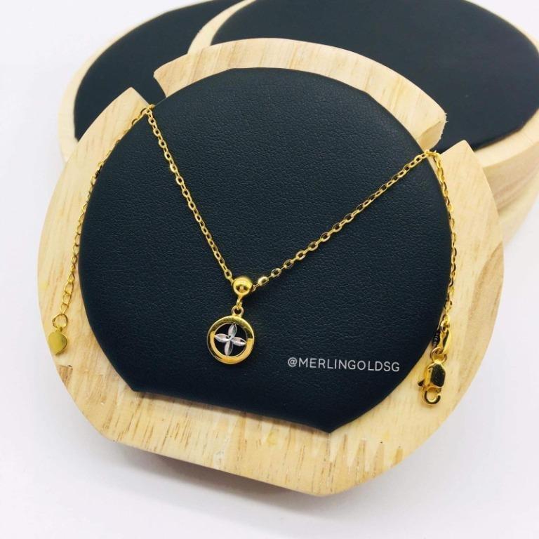 916 Gold Rhodium Dangle Four-Leaf Clover Necklace