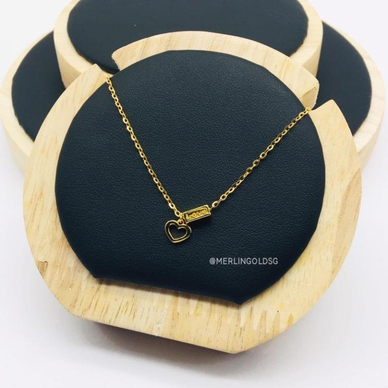916 Gold Glossy Open Heart Necklace