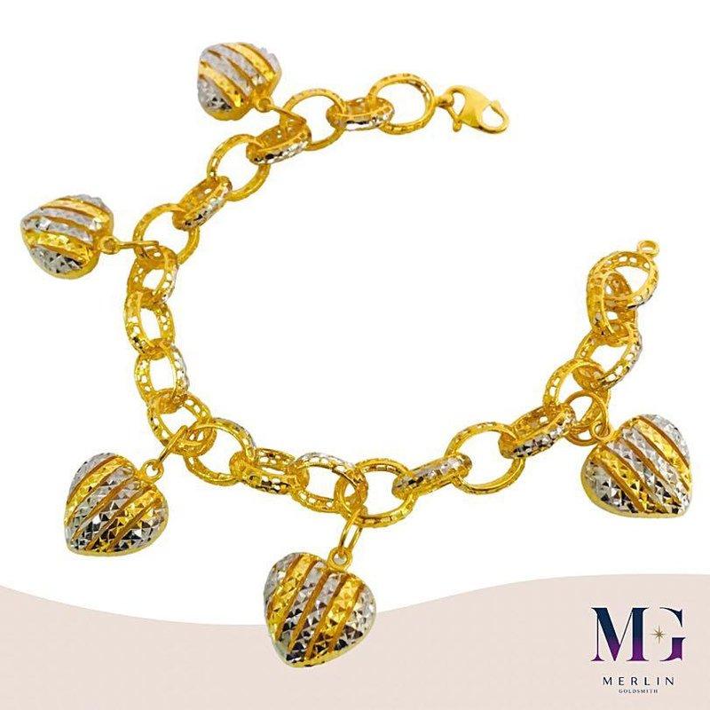 916 Gold Fluffy Heart Bracelet