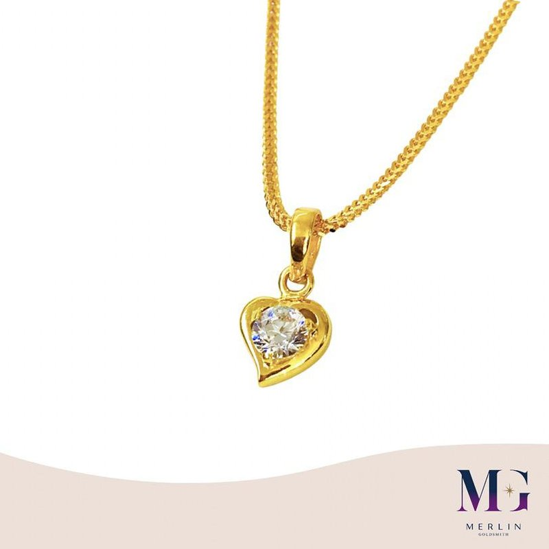 916 Gold Sparkly Heart Pendant