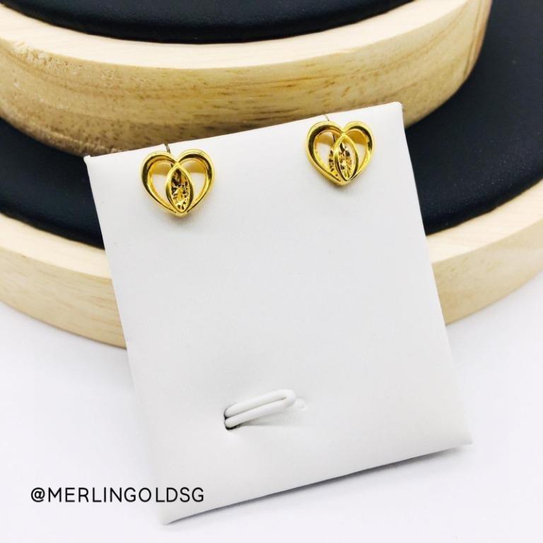 916 Gold Graceful Heart Ear-Stud / Push Stud