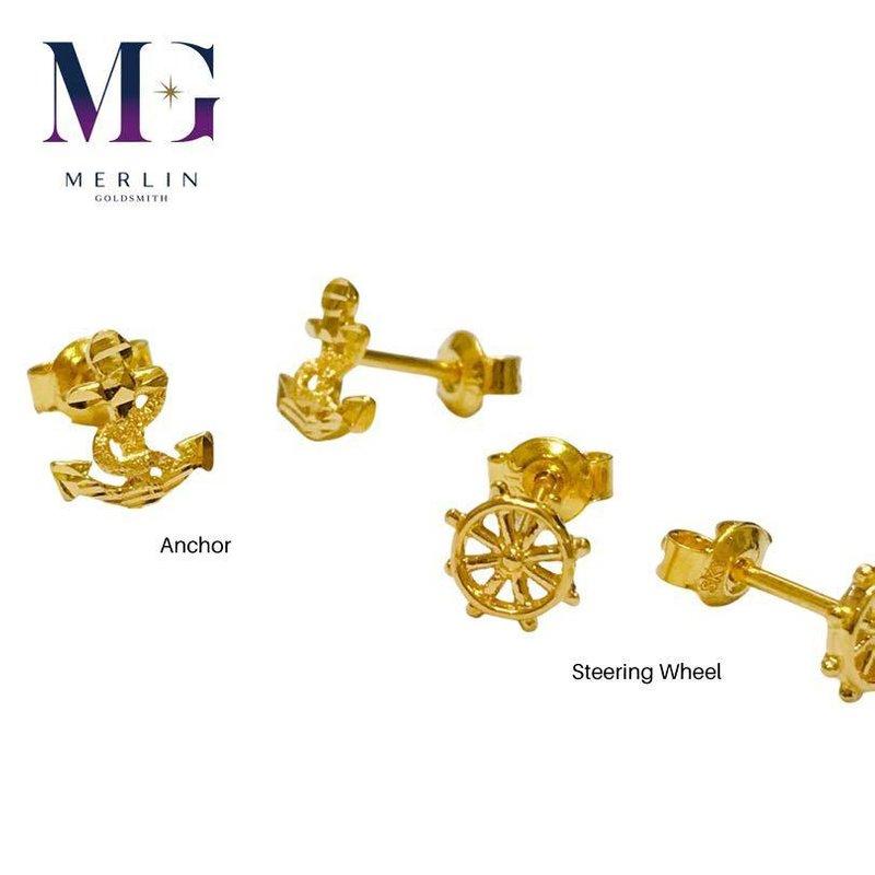 916 Gold Anchor Series Earrings / Push Stud