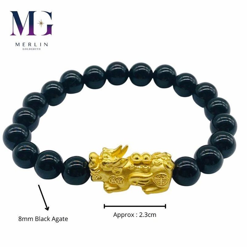 999 Pure Gold Double Ingot Pixiu Paired with 8mm Black Agate Bracelet