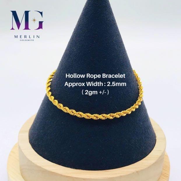916 Gold Hollow Rope Bracelet (2gm // 2.5mm)