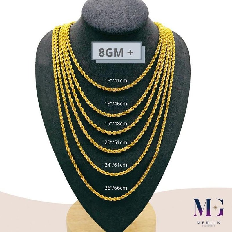 916 Gold Hollow Rope Chain (HRC 8GM+)