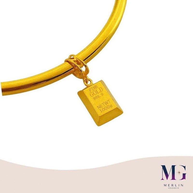 916 Gold Cute Mini Gold Bar Charm / Pendant