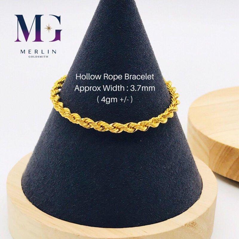 916 Gold Hollow Rope Bracelet  (4gm // 3.7mm)