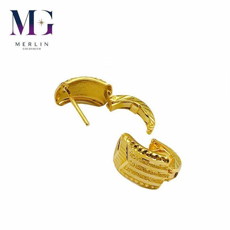 916 Gold Stripe Design Spring Clip Earrings