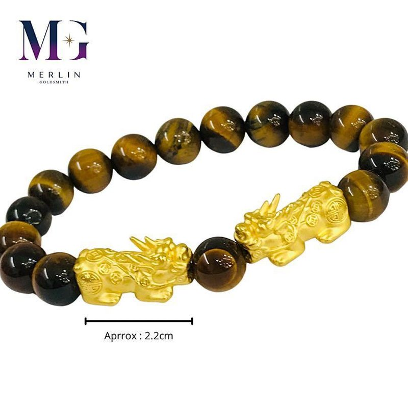 999 Pure Gold Rich Pixiu Paired with 10mm Tiger Eye Beads Bracelet