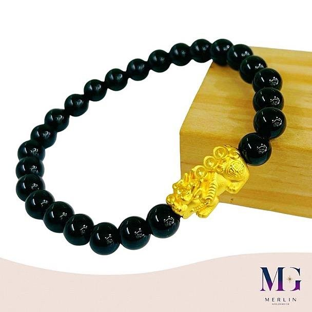 999 Pure Gold Three Ingot Pixiu Paired with 6mm Black Agate Bracelet