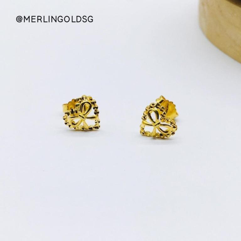 916 Gold Sweet Bow Heart Ear-Stud / Push Stud