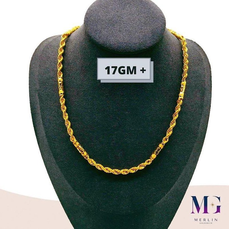 916 Gold Hollow Barrel Rope Chain (17GM+)