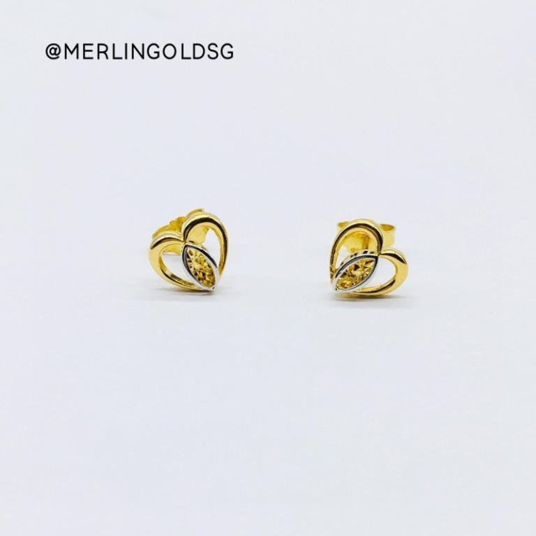 916 Gold Rhodium Graceful Heart Ear-Stud / Push Stud