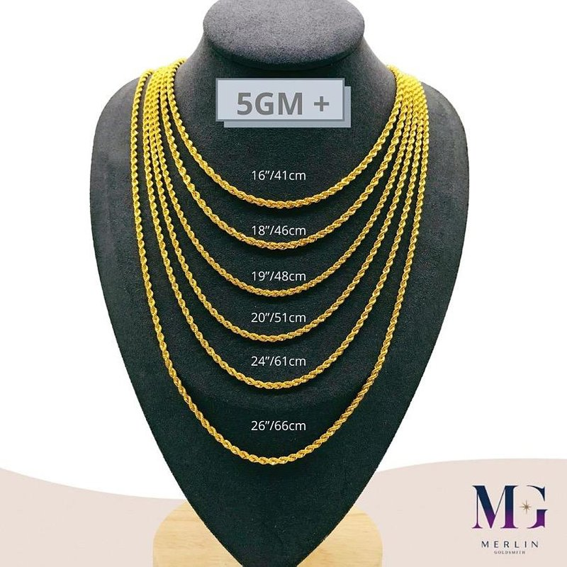 916 Gold Hollow Rope Chain (HRC 5GM+)
