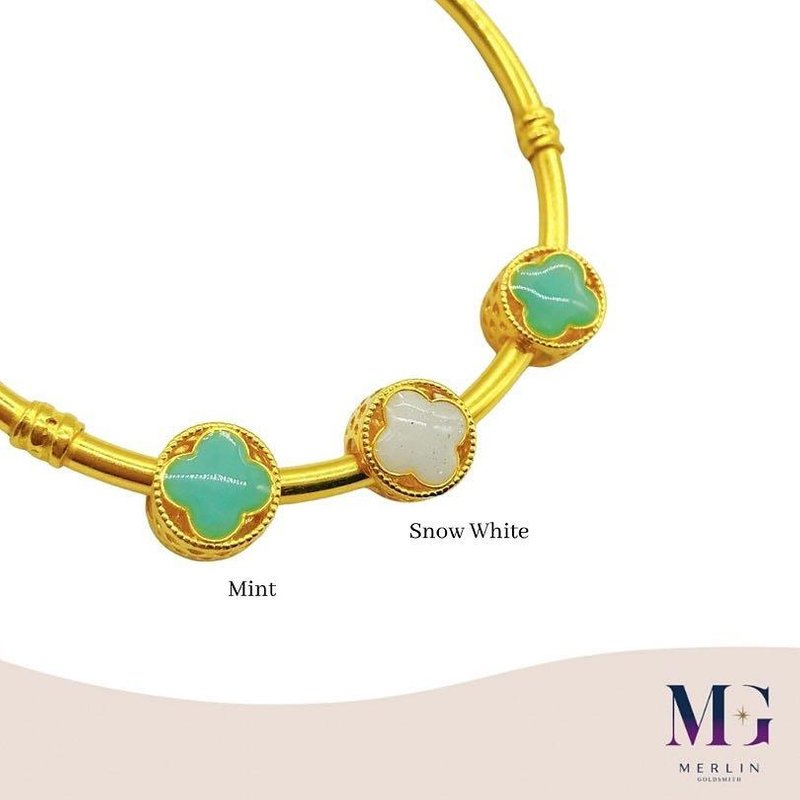 916 Gold Pastel Clover Spacer / Charm