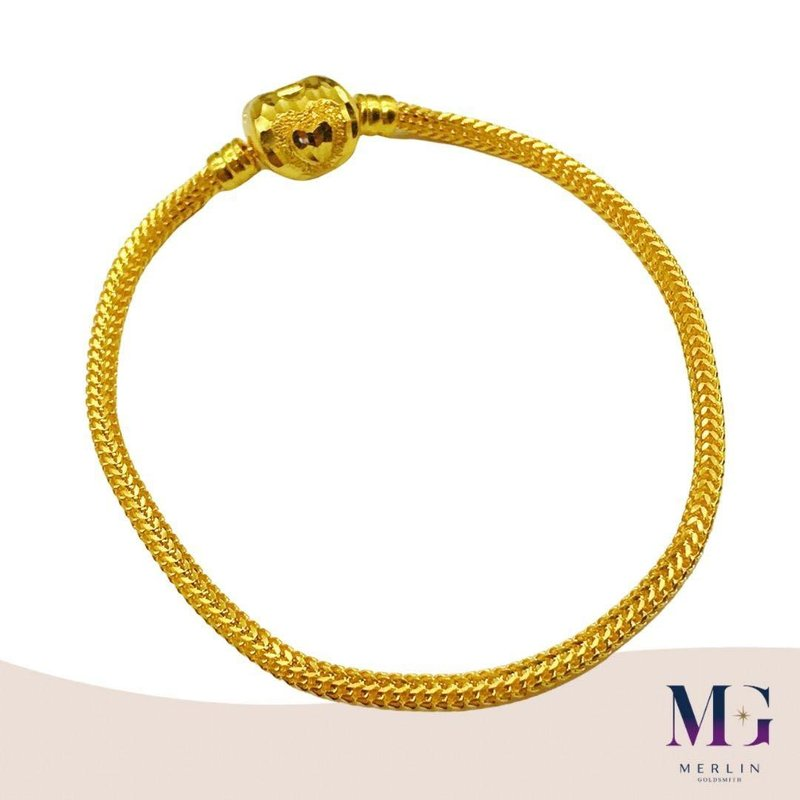916 Gold Heart Clasp PDR Charms Bracelet (Thickness 3mm+/-)