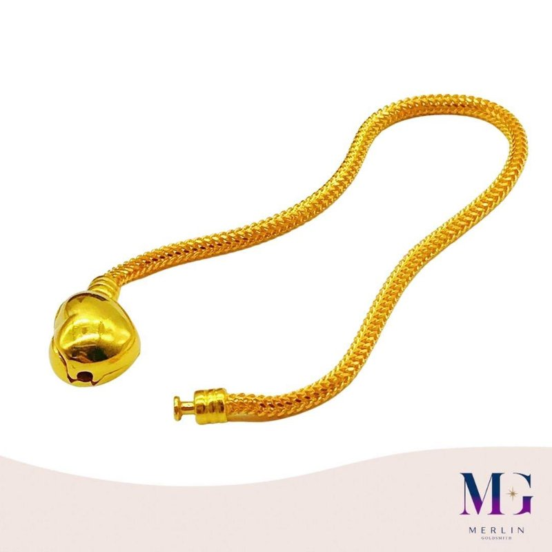 916 Gold Glossy Heart Clasp PDR Charms Bracelet  (Thickness 3mm+/-)