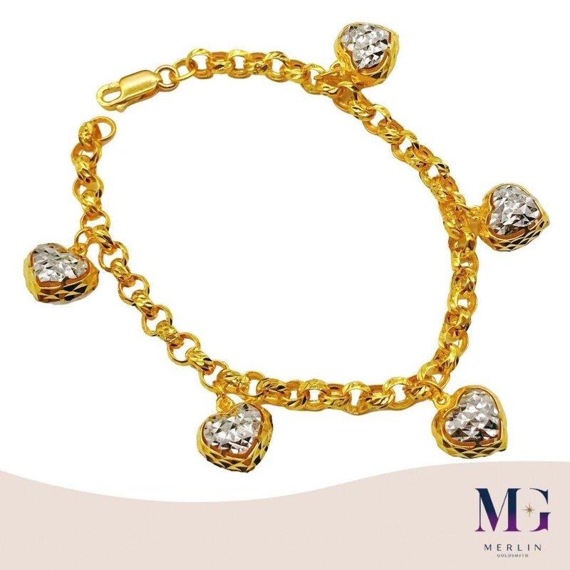 916 Gold AVERY Dangling Heart Bracelet (Rhodium)