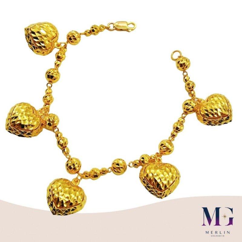 916 Gold Gorgeous Dangling Heart Bracelet