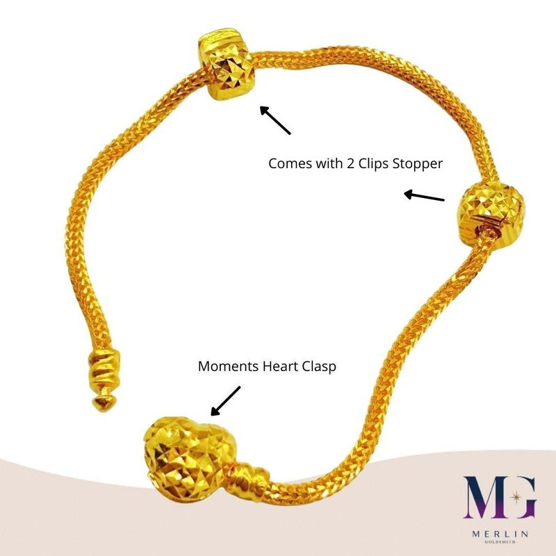 916 Gold Moments Heart PDR Bracelet comes with stopper