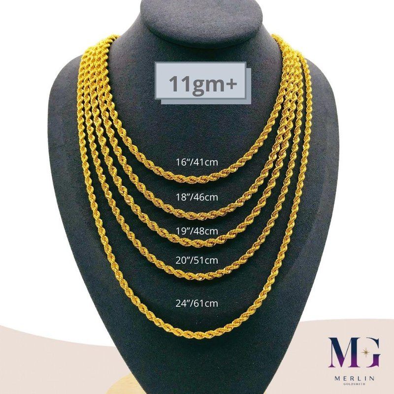 916 Gold Hollow Rope Chain (HRC 11GM+)