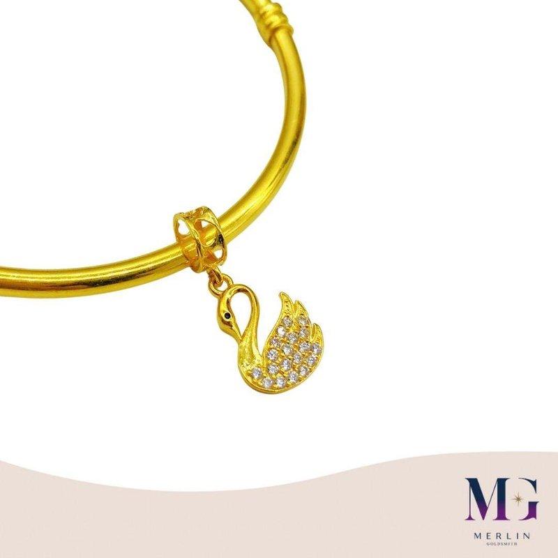 916 Gold Dazzling Swan Charm / Pendant