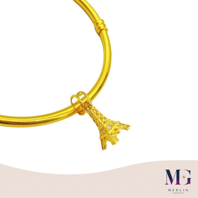 916 Gold Sparkling Eiffel Tower Charm / Pendant