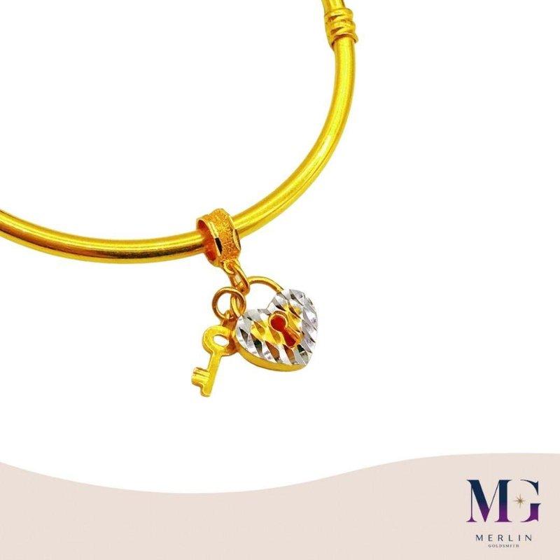 916 Gold Heart Padlock with Key Charm / Pendant