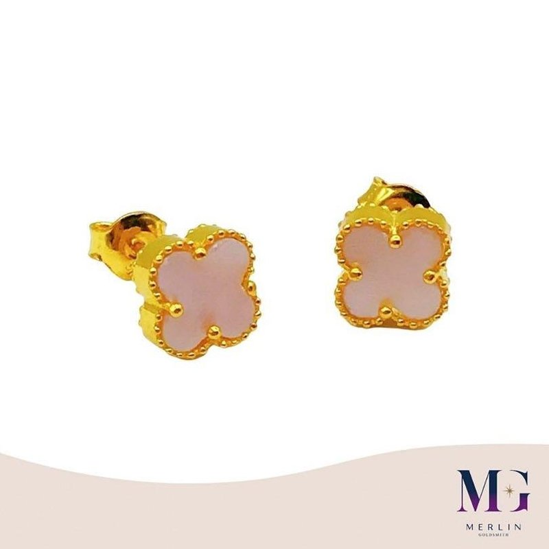 916 Gold Clover Earrings / Push-stud (Mother of Pearl)