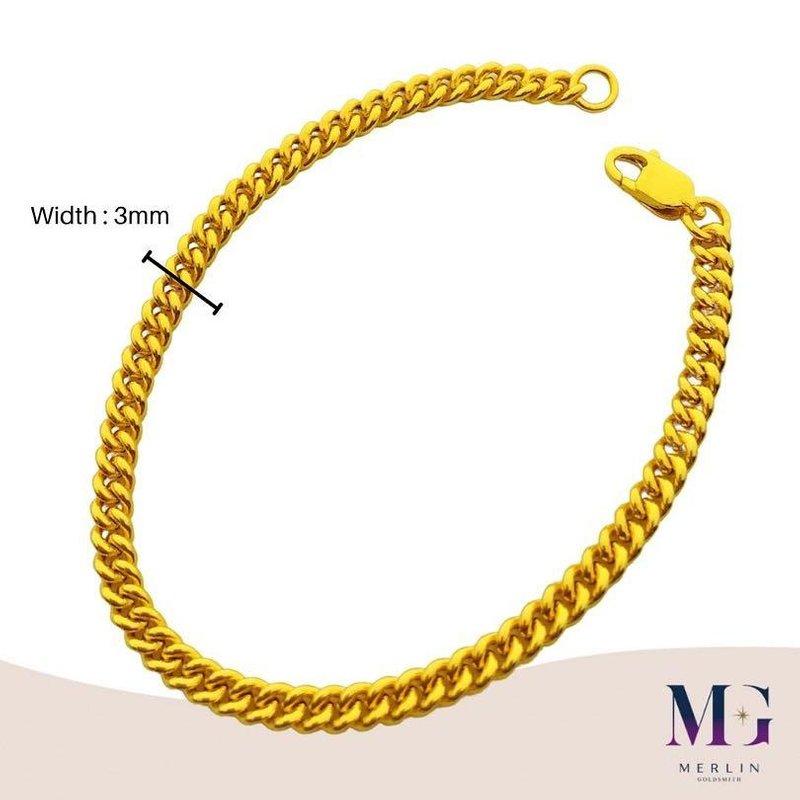 916 Gold Fishbone Bracelet (Width 3MM)