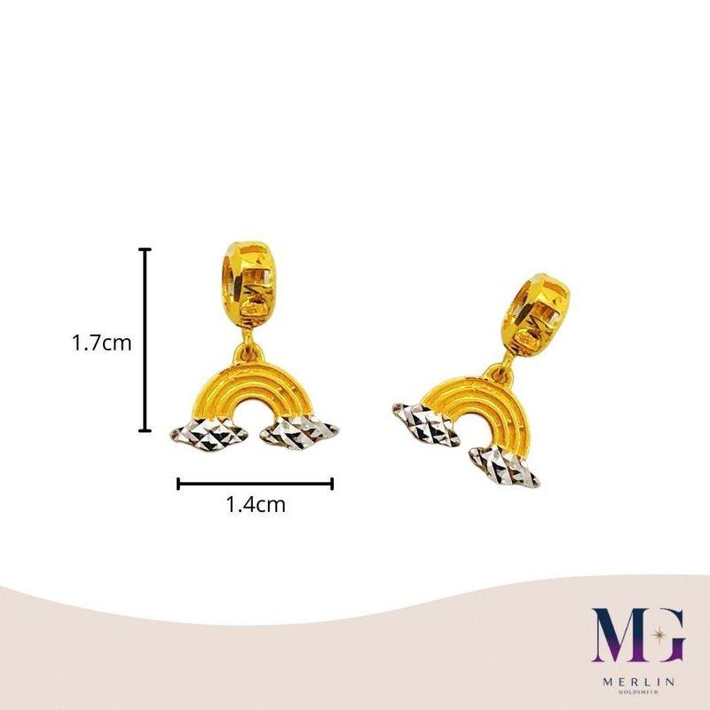 916 Gold Rainbow Dangle Charm / Pendant (Rhodium)