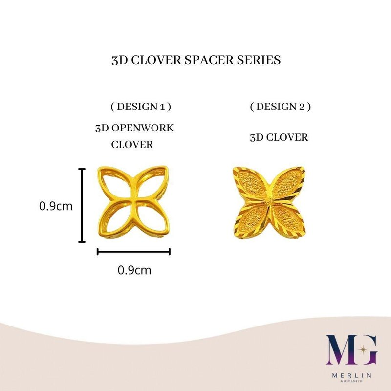 916 Gold 3D CLOVER Spacer / Charm Series