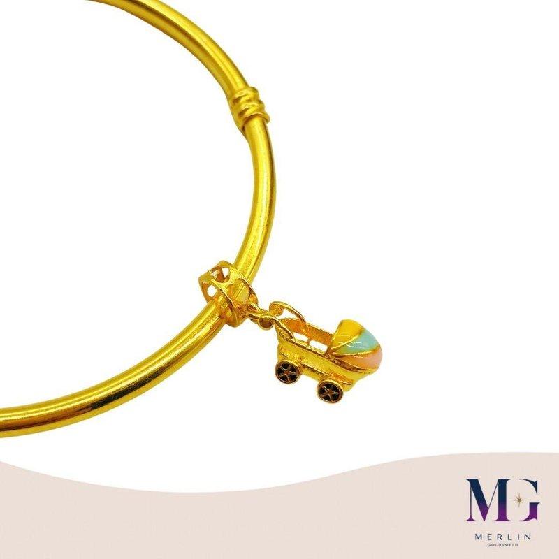 916 Gold Pastel Baby Pram Charm / Pendant