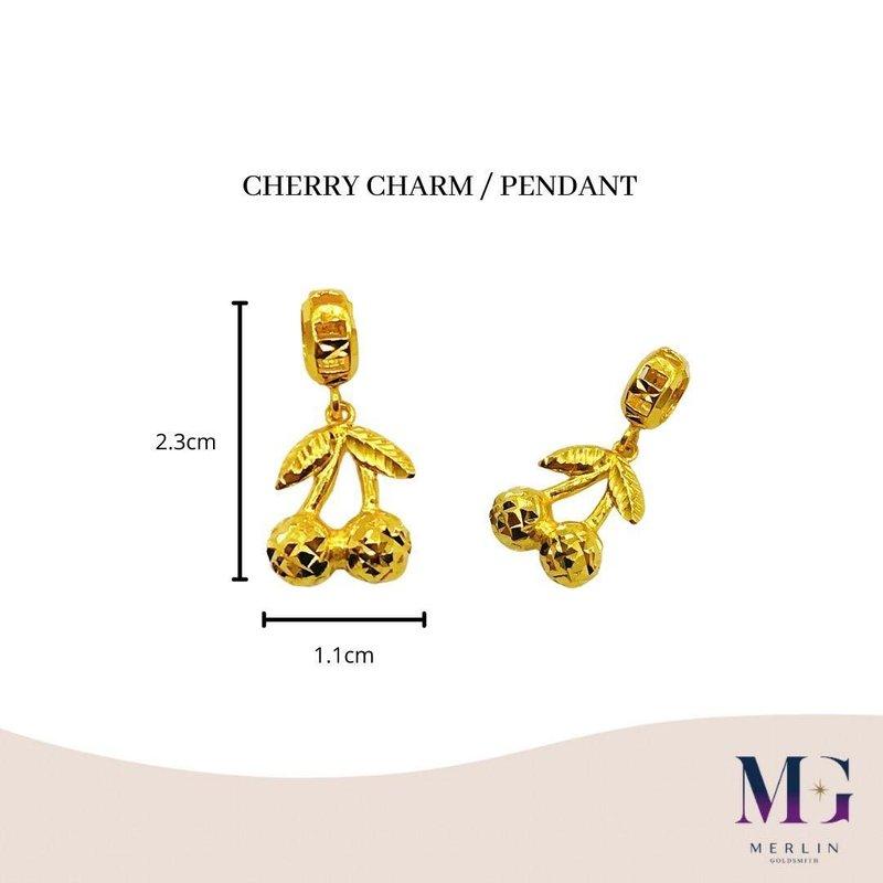 916 Gold Cherry Charm / Pendant