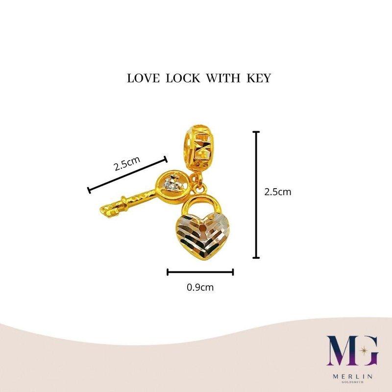 916 Gold Love Lock with Key Charm / Pendant