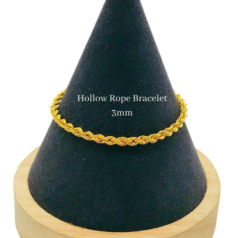 916 Gold Hollow Rope Bracelet (3gm // 3mm)