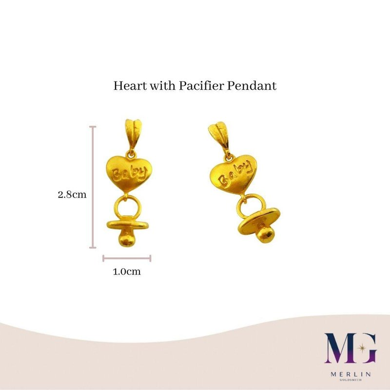 916 Gold Heart with Pacifier Pendant