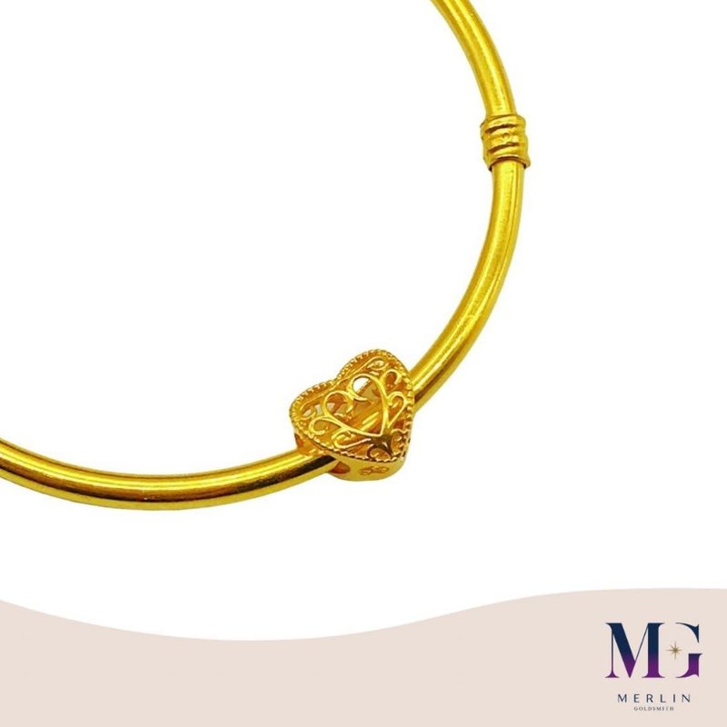 916 Gold Graceful Heart Spacer / Charm