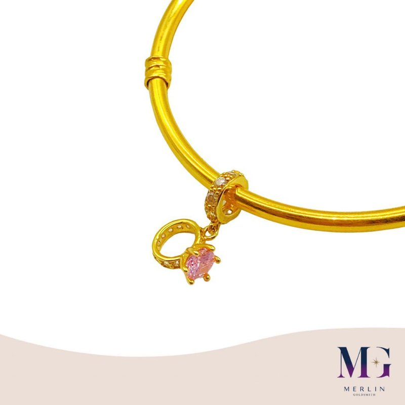 916 Gold Solitaire Ring Charm / Pendant (Setting with Flamingo Pink Stones)