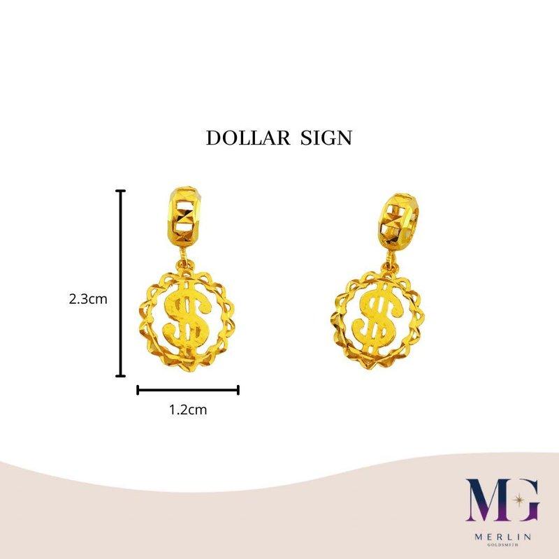 916 Gold Dollar Sign Charm / Pendant
