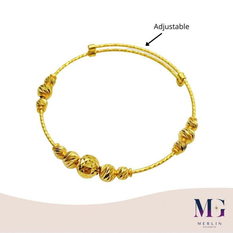 916 Gold Baby Adjustable Bangle (Fancy Ball Design)